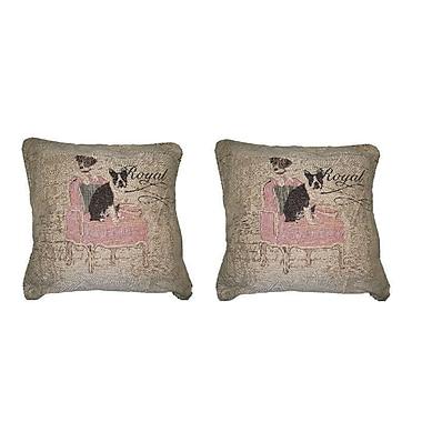 DaDa Bedding Royal Dogs French Bulldog Beagle Elegant Novelty Woven Throw Pillow (Set of 2)