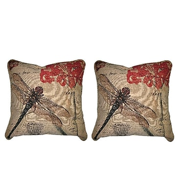 DaDa Bedding Dragonfly Dreams Insect Bug Elegant Novelty Woven Throw Pillow (Set of 2)