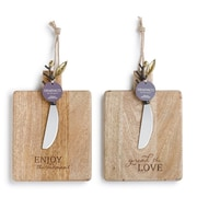 DEMDACO Poetic Threads 2 Piece Love and Enjoy Wooden Serving Board Set
