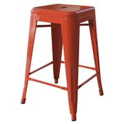 AmeriHome Loft Metal 24'' Bar Stool; Orange