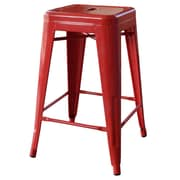 AmeriHome Loft Metal 24'' Bar Stool; Red