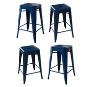 AmeriHome Loft Metal 24'' Bar Stool (Set of 4); Blue