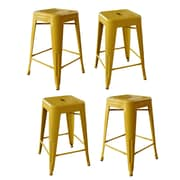 AmeriHome Loft Metal 24'' Bar Stool (Set of 4); Gold