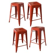 AmeriHome Loft Metal 24'' Bar Stool (Set of 4); Orange