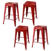 AmeriHome Loft Metal 24'' Bar Stool (Set of 4); Red
