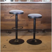 AmeriHome Classic Faux Leather Adjustable Height Swivel Bar Stool (Set of 2); Fabric - Gray