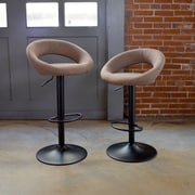 AmeriHome Classic Fabric Adjustable Height Swivel Bar Stool (Set of 2); Brown