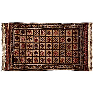 Darya Rugs Tribal Hand-Knotted Brown Area Rug