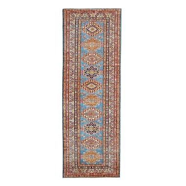 Wildon Home Kazak Hand-Knotted Blue/Red Area Rug