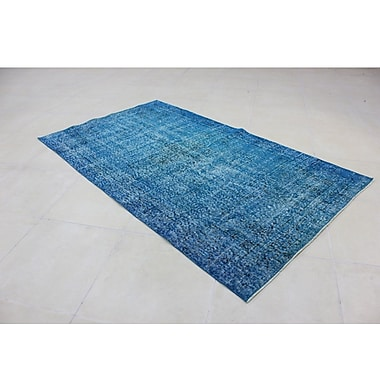 Wildon Home Vintage Hand-Knotted Blue Area Rug