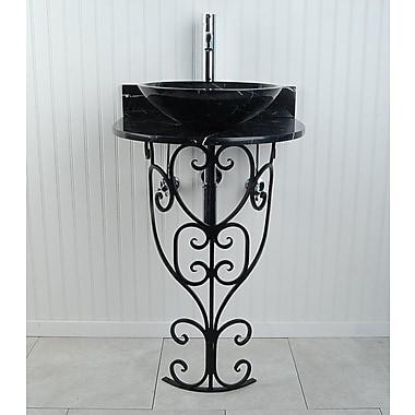 D'Vontz Monterrey Sphere 22'' Pedestal Bathroom Sink; Black Marquine