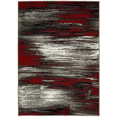 LYKE Home Abstract Lava Red/Gray Area Rug; 5' x 7'