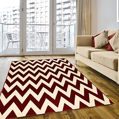 LYKE Home Modern Chevron Hand-Woven Red/White Area Rug; 5' x 7'
