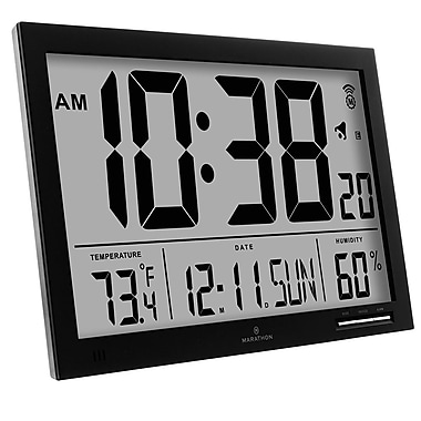 Marathon Slim-Jumbo Atomic Digital Wall Clock, Black