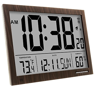 Marathon Slim-Jumbo Atomic Digital Wall Clock, Wood