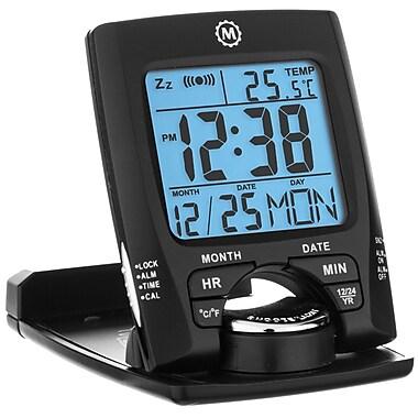 Marathon Travel Alarm Clock with Calendar & Temperature, Black