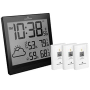 Marathon Weather Station with 3 Remote Sensors & Atomic Timing, Black