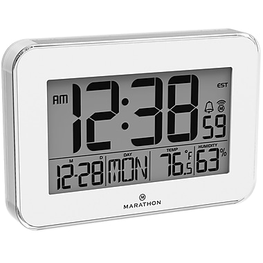 Marathon Crystal Framed Atomic Wall Clock, White