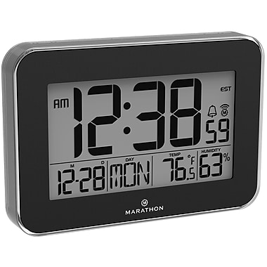 Marathon Crystal Framed Atomic Wall Clock, Black