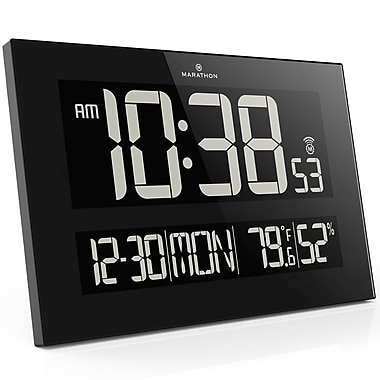 Marathon Reverse LCD Screen Jumbo Atomic Wall Clock, Black