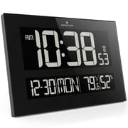 Marathon Reverse LCD Display Jumbo Atomic Wall Clock, Black
