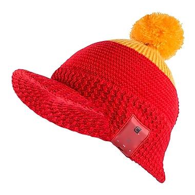 Caseco Blu-Toque Dual-Layered Winter Bluetooth Speaker Hat with Visor, Red/Yellow (CC-BTQ-BTSW)