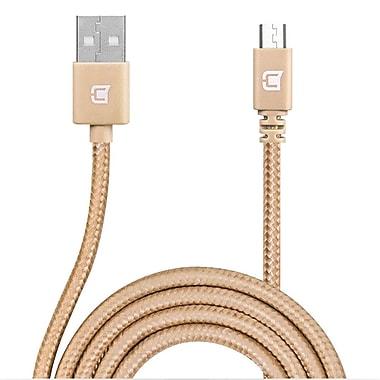 Caseco - Câble de chargement et de synchronisation Micro USB tressé, 6,5 pi, doré (CC-BMC-2M-GD)