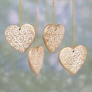 Novica Christmas Hearts Ceramic Ornament (Set of 4)