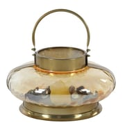 Cole & Grey Stainless Steel Glass Lantern; Bronze