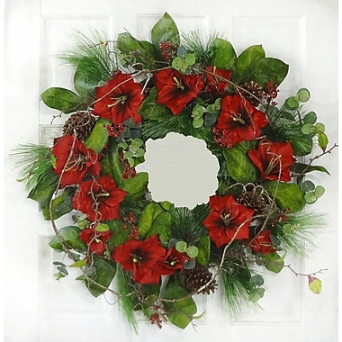 Floral Home Decor Amaryllis 25'' Christmas Wreath