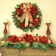 Floral Home Decor Magnolia Christmas Wreath and Holiday Swag Set