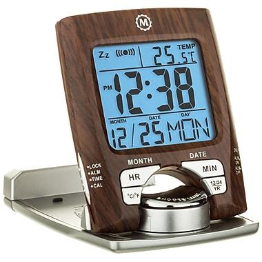 Marathon - Réveil de voyage avec calendrier et temperature, bois