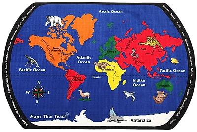 Flagship Carpets Maps That Teach Kids Rug; 6' x 9'