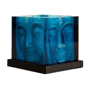 Foreign Affairs Home Decor Ani Glass Hurricane; Blue