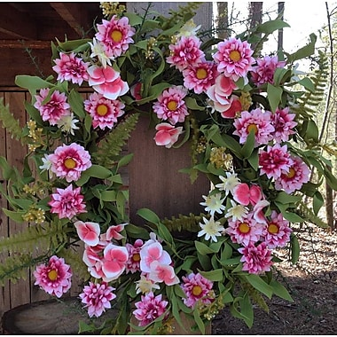 Flora Decor 24'' Pink Harmony Wreath