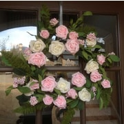 Flora Decor 22'' Pink and White Rose Wreath