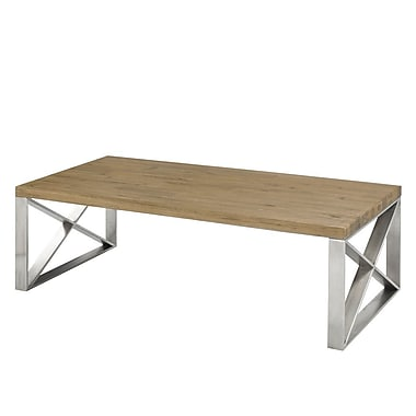 Brayden Studio Rempe Stainless Steel Distressed Wood Coffee Table
