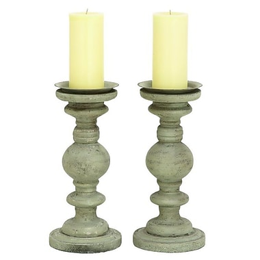Cole & Grey PU 2 Candlestick Set (Set of 2)
