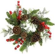 AdmiredbyNature 15'' Faux Berries Natural Pine Cones and Cedar Christiams Wreath