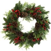 AdmiredbyNature 24'' Faux Berries Natural Pine Cones and Cedar Christiams Wreath