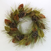AdmiredbyNature 26'' Faux Magnolia Leaves and Glitter Pine Cone Christmas Wreath