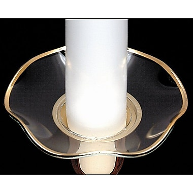 Biedermann and Sons Serrated Edge Glass Bobeche Candle Holder (Set of 4); Gold Rim