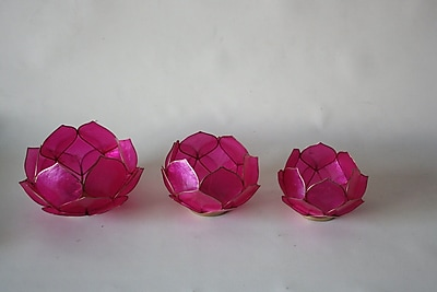 DestiDesign Capiz 3 Piece Lotus Votives; Pink
