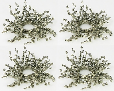 Golden Hill Studio Beaded Silver Taper Candle Ring (Set of 4)