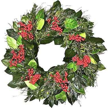 Dried Flowers and Wreaths LLC Preserved Holiday Greeting 22'' Wreath
