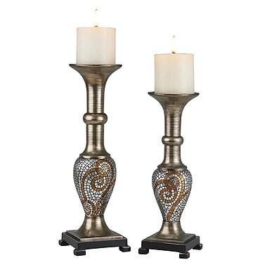OK Lighting Theos 2 Piece Polyresin Candlestick Set
