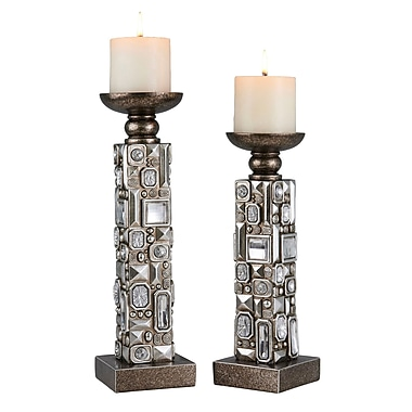 OK Lighting Sierra 2 Piece Polyresin Candlestick Set
