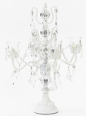 Opulent Treasures Iris Four Taper Metal Candelabra; White WYF078280044174