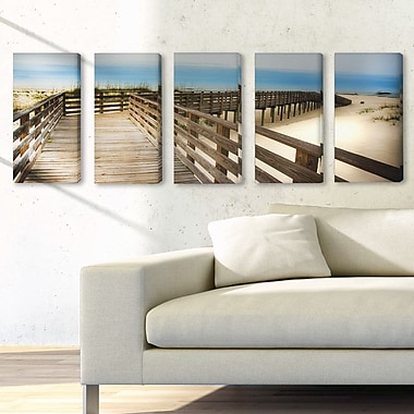 Stupell Industries Bridge to the Beach and Sand 5 Piece Photographic Print on Canvas Set