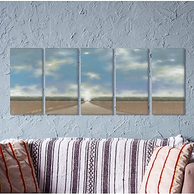 Stupell Industries Blue Skies and Long Path 5 Piece Painting Print on Canvas Set
